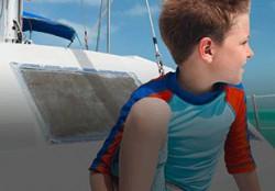 kids apparel on a boat