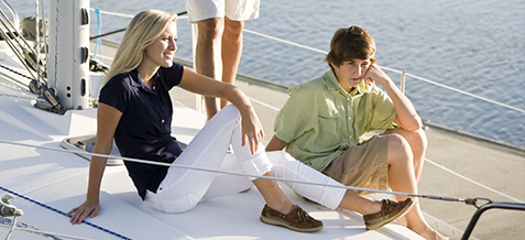 Family sitting on a sail boat in resort wear