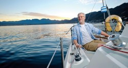 Mens outdoor wear on a boat