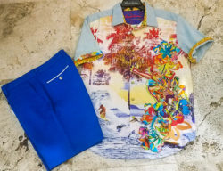 robert graham short sleeve button up and shorts